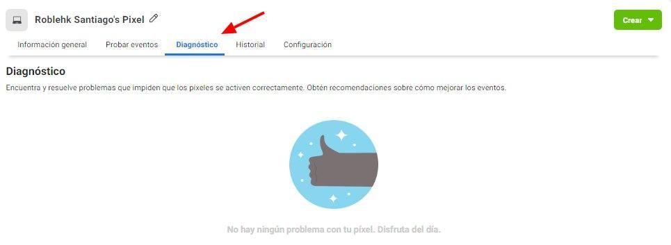 Usa la Herramienta de Configuración de Eventos de Facebook, muestra la pestaña de Diagnóstico para la página de píxeles de Facebook en el administrador de eventos - Seiren Digital