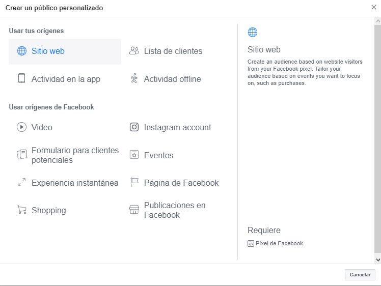 Usa la Herramienta de Configuración de Eventos de Facebook, opción de menú de Facebook para seleccionar el tráfico del sitio web como fuente de audiencia - Seiren Digital
