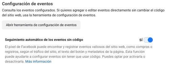 Usar la Herramienta de Configuración de Eventos de Facebook, ejemplo de la herramienta de configuración de eventos de Facebook - Seiren Digital