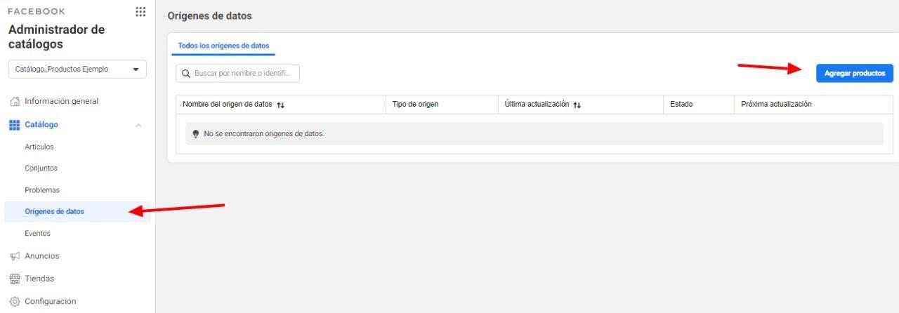 Utiliza la Herramienta de Configuración de Eventos de Facebook, opción del menú para añadir productos a través de la pestaña de fuentes de datos de productos en Facebook - Seiren Digital