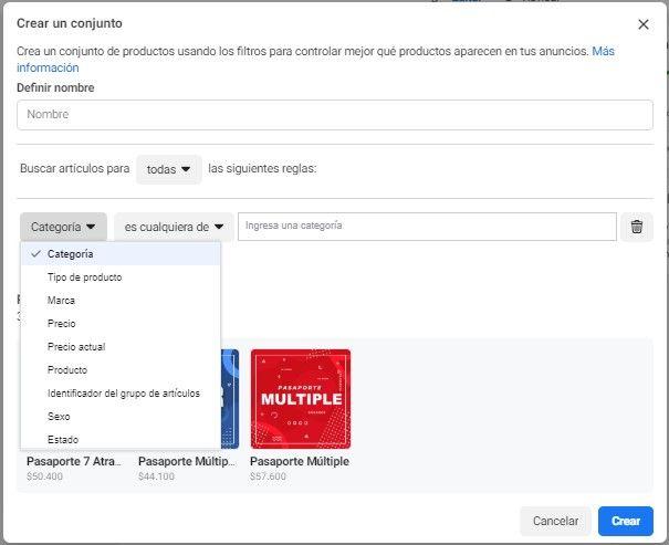Utiliza la Herramienta de Configuración de Eventos de Facebook, opción de menú de Facebook para aplicar filtros a los productos que se muestran a los clientes - Seiren Digital