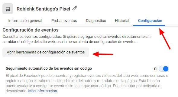 Usa la Herramienta de Configuración de Eventos de Facebook, ve al botón de la Herramienta de Configuración de Eventos en la pestaña de Configuración - Seiren Digital