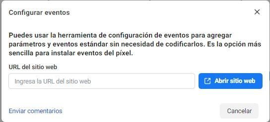 Usa la Herramienta de Configuración de Eventos de Facebook, introduce la URL del sitio web para instalar el evento de píxeles - Seiren Digital