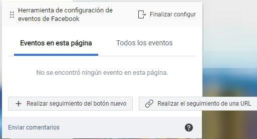 Utiliza la Herramienta de Configuración de Eventos de Facebook, opciones para rastrear un nuevo botón o rastrear una URL - Seiren Digital