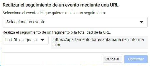 Utiliza la Herramienta de Configuración de Eventos de Facebook, configuración para rastrear un evento usando una URL - Seiren Digital