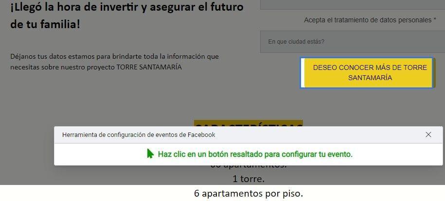 Utiliza la Herramienta de Configuración de Eventos de Facebook, opción para seleccionar qué botón se rastrea para un evento - Seiren Digital