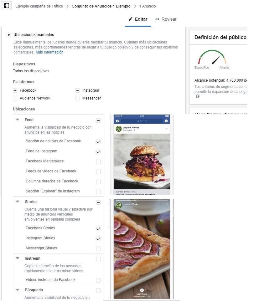 Selecciona ubicaciones para la campaña de tráfico de Facebook
