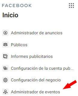 Pixel de Facebook - Administrador de Eventos